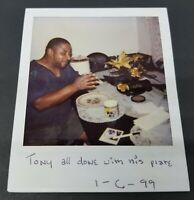 Tony All Done With Plate 1990s Black Man Vintage Polaroid Film Photo Eating Food