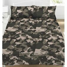 CAMOUFLAGE GREY DOUBLE DUVET COVER & PILLOWCASE SET BEDDING ARMY