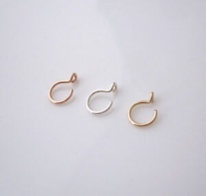 Fake faux nose ring in yellow, rose gold filled or in sterling silver