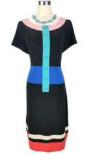 LEONA EDMISTON Dress - Vintage Retro Style Striped Black Blue Pink Button - 1/10