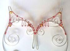 Handmade Red & Silver Plated Elf Ear Cuffs, Fantasy Earcuffs, Cosplay