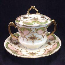 Limoges Covered Bouillon Gold Encrusted Handled Cup Saucer Set Antique Raphael