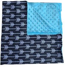 One Soft and Cozy Large Luxury Minky blanket satin ruffle trim - Grey Arrows