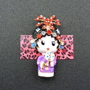 Woman's Purple Enamel Crystal Cute Flower Girl Betsey Johnson Brooch Pin Gift