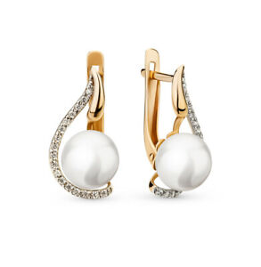 NEW Russian Earrings gold pearl white Rose gold 14K 585 Russia diamond 3.8g USSR