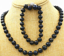Charming! NEW Black 9-10mm Natural Pearl Necklace Bracelet + Earrings 18""