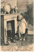 OLD PC FRANCE 1904 - CHRISTMAS - fireplace - girl - shoes - boots #021