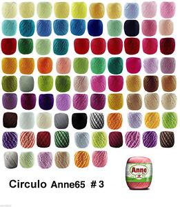 Circulo ANNE 65 Crochet Soft Cotton Yarn Knitting Thread #3 65m Solid & Random
