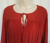 M&S COPPER BUTTON FRONT LONG SLEEVES TIE NECK WAISTED CREPE DRESS SIZE 14 BNWT