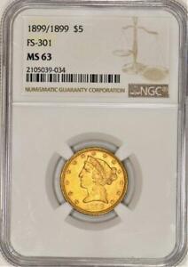 1899/1899 $5 Gold Half Eagle NGC MS-63; FS-301