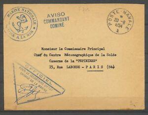 1954 Env. obl Poste navale ancre + Aviso COMMANDANT DOMINE Sup. X3236