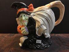 fitz and floyd halloween witch pitcher 1988 mint original box lizard pumpkin