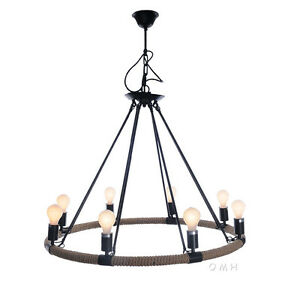 "Nautical Rope Pendant Hanging Lamp Chandelier Lighting 37"" Eight Bulbs New"