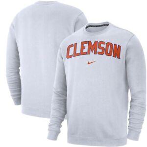 Men's Clemson Tigers Nike Club Fleece Crew White Sweatshirt NWT 3XL