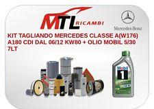 KIT TAGLIANDO MERCEDES CLASSE A(W176) A180 CDI DAL 06/12 KW80 + OLIO MOBIL 5/30.