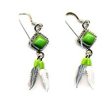 Genuine Gaspeite Beaded Sterling Silver Feather Dangle Earrings Native American