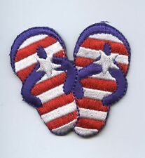 Iron On Embroidered Applique Patch Red White Blue Striped Flip Flops with Star