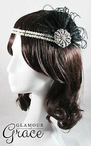 Paris vintage gatsby 1920s costume black flapper feather fascinator headpiece