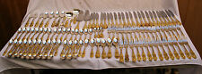 181 PIECE GOLD ON STERLING SILVER GORHAM CROWN BAROQUE PATTERN SERVING PIECES