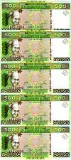 LOT, Guinea / Africa, 5 x 500 Francs, 2012, Pick 39b, UNC > colorful