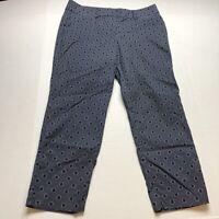 Ann Taylor Blue Spot Print Pattern Cropped Pants Sz 10 A163