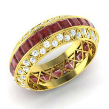 3.50 Ct Natural Diamond Red Garnet Eternity Band 14K Yellow Gold Ring Size 5 6 7