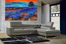 A0 SUPER SIZE CANVAS landscape art painting print quality field tree