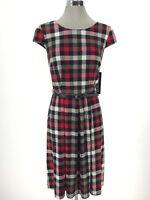 Madison Leigh NWT Elegant Women's Dress Pleads Black Ivory Red size 6 8 12 14 16