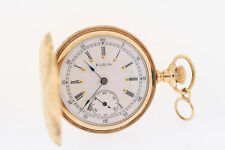 Antique Elgin 14k Yellow Gold 15 Jewel 0s Fancy Dial Double Hunter Pocket Watch