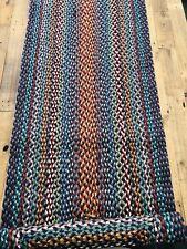 Jute Rectangle Braided Runner Rug CARNIVAL BLUE 61 x 244 The Braided Rug Company