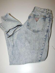 Guess 1980s Vintage Women's Blue Acid Wash Ankle Zip Denim Jeans Sz 30