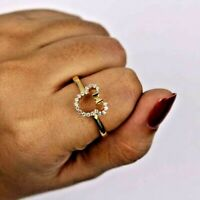 0.25 Ct Mickey Mouse Round Simulated Diamond Women's Ring 14k Yellow Gold Plated