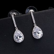 Wedding Swarovski Elements Clear Crystal Silver Teardrop Bridal Earrings NEW