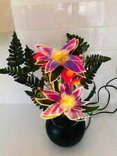 Vintage Premier Fibre Optic Flower Lamp Colour Changing Light Purple Xmas Dec