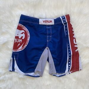Venum Boxing Fighting Shorts Mens Size 34/35 Gray Spell Out Black Red White