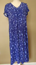 Boden Knit Dress 22 Blue Ruched Bodice 22L Circles Bubbles Casual