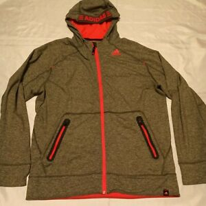 Adidas Men's Gray and Pink Track Jacket Full Zip Size L Large AV1001