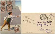 STAMPALIA ISLAND ITALY 1913 PPC ASTYPALAIA GREECE VFU PAPERBOY to BELGIUM