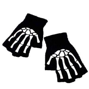 Gothic Knitted Black with White Skeleton Bones Fingerless Punk A2U3 Skull  7Y6T