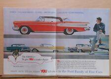 1957 double page magazine ad for Ford - Edsel Citation, Thunderbird, Fairlane +
