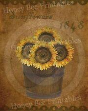 Primitive Autumn Fall Harvest Sunflowers Bucket Folk Art Print PRINT ONLY 8x10