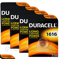 4 x Duracell Lithium CR1616 3V Coin Cell batteries DL1616 BR1616 KRC ERC EX:2026