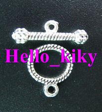50 sets Tibetan silver oval toggle clasp A1076
