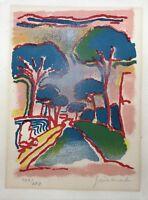 Lithographie Paul Guiramand 1926-2007 Allee Bäume Straße Expressiv Mid-Century