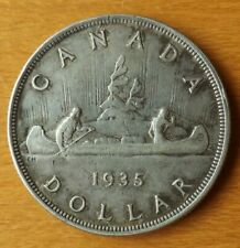 Canada British Silver Dollar Coin 1935 Very Fine+ Grade Very Nice Scarce....