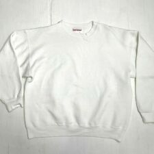 Hanes Blank Premium Weight Sweater Womens Sz L White Long Sleeve Fleece Pullover