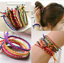 10 Women Girl Braided Elastic Rubber Hair Tie Band Rope Ponytail Holder Bracelet