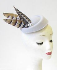 Grey Brown Silver Pheasant Feather Pillbox Hat Fascinator Vtg Races Hair 1294