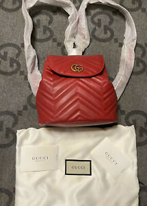 NEW WITH TAGS 100% AUTHENTIC GUCCI MARMONT BACKPACK SMALL RED LEATHER