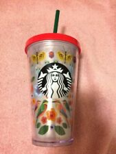 STARBUCKS--INSULATED DRINK GLASS / LID / STRAW--COLD BEVERAGE-----FREE SHIP--NEW